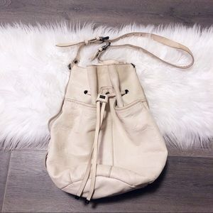 Kooba cream leather draw string shoulder bag!